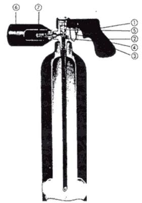 Kohlendioxidlöscher mit Abzugshebelarmatur für Fingerbetätigung