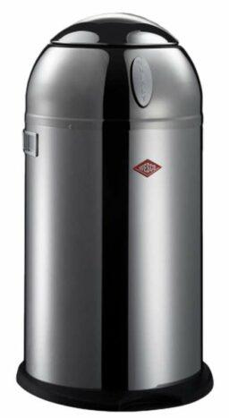 Abfallbehälter aus Metall mit feuerfestem verzinktem Inneneimer.